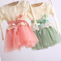 Vintage inspired lace dress in Pink or Green Tutu. Ribbon tie. Gorgeous!!!