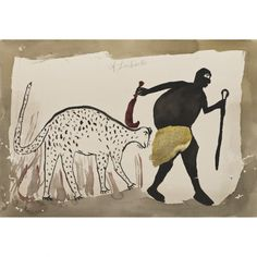 Lot : Albert Lubaki (né vers 1895) - Sans titre (le chasseur)... | Dans la vente African Stories, Art Contemporain Africain à Piasa