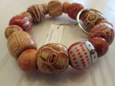 Handmade For You Hands-Free Beaded Bracelet KeyChain Keyring OWL Painted Wooden Beads Tan Brown Orange Stretch Cord Fits Many Sizes K204 by JewelsHandmadeForYou on Etsy