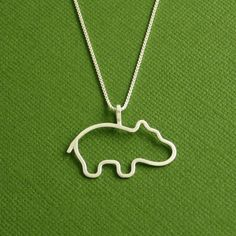 Hippo Necklace, Baby Hippo, Sterling Silver,  Box Chain, Made To Order. $40.00, via Etsy.
