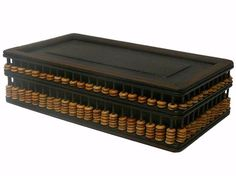 Chinese Abacus Accent Wooden Storage Box cs517S