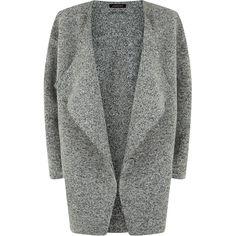 Jaeger Knitted Wool Coat, Grey Melange (€390) ❤ liked on Polyvore featuring outerwear, coats, gray coat, waterfall coat, drape coat, long sleeve coat and knee length coat