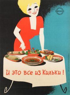 Original Vintage Posters -> Propaganda Posters -> Food Propaganda This Is All Sprat Fish Vintage Advertising Posters, Vintage Advertisements, Vintage Posters, Social Advertising, Black And Blue Background, Soviet Art, Soviet Union, Retro Graphic Design, Website Illustration