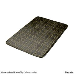 Black and Gold Motif Bath Mat with matching shower curtain