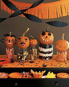 Martha shows you how to craft ghoulish pumpkin candy faces using a variety of delicious candies.