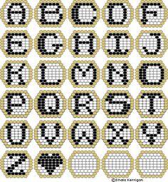 Peyote Beadwork Patterns Free Printable | patterns they work up really fast 20x20 beads elvish alphabet