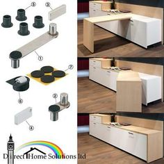 This fitting set allows one piece of furniture to have two functions; sideboard and table. - The entire storage space inside the cabinet can be used. Felt guides for glue fixing beneath swivel table (fig. Smart Furniture, Space Saving Furniture, Furniture For Small Spaces, Kitchen Furniture, Kitchen Interior, Furniture Makeover, Furniture Design, Home Office Design, Home Interior Design