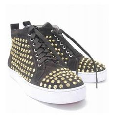 CHRISTIAN LOUBOUTIN LOUIS STUDDED HIGH-TOP SNEAKERS BROWN