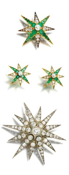 THREE EMERALD AND DIAMOND BROOCHES, ONE DIAMOND BROOCH, LATE 19TH CENTURY. Each of star design, three set with step-cut emeralds, cushion-shaped, circular-cut and rose diamonds, fitted case; one brooch of similar design set with cushion-shaped, circular-cut and rose diamonds, fitted case.