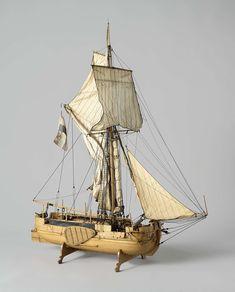 Model van een gaffelkanonneerboot, anoniem, 1835