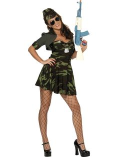 Military Babe Costume, Camouflage, Dress, Hat and Shrug, in Display Bag