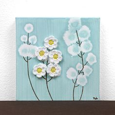 Gift for Mom  Mini Canvas Painting of Wildflowers  by Amborela, $24.99