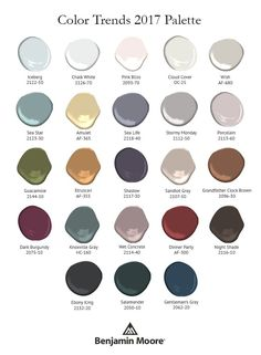 Benjamin Moore Paint Color Palette For Of The Year 2017