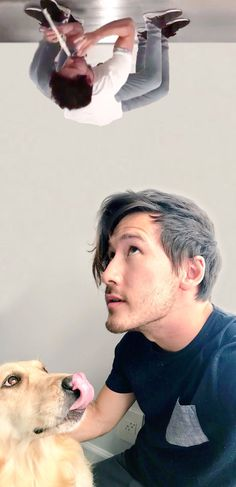 Markiplier and Chica   Mark Fischbach   dog   spider thing   terrifying   I'm sorry   idk what this is or why I'm posting this   creds to @cheekabeeka on Twitter