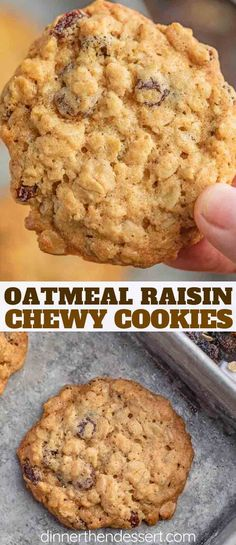 Oatmeal Raisin Cookies are the BEST soft and chewy cookie recipe made with quick cooking oats vanilla and raisins ready in less than 20 minutes cookie cookies oatmeal oatmealraisin christmas dinnerthendessert dessert baking Quick Oat Cookies, Easy Oatmeal Raisin Cookies, Oat Cookie Recipe, Oatmeal Cookie Recipes, Easy Cookie Recipes, Healthy Cookies, Chocolate Chip Cookies, Dessert Recipes, Recipe Using Cooked Oatmeal