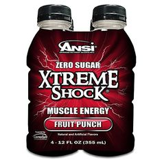 Ansi Xtreme Shock Energy Drink, Fruit Punch, 4 Count Fruit Punch, Xtreme, Energy Drinks, Drink Bottles, How To Lose Weight Fast, Peach, Nutrition, Count, Food