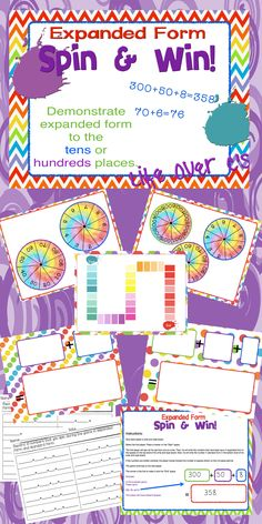Students will spin their way to learning about expanded and standard forms of numbers. Two game levels included to teach about place value to the tens place and the hundreds place. Students will spin, write in expanded form and write in standard form on the included writing boards. $ #education #math #placevalue #expandedform #standardform #composingnumbers #lifeoverscs