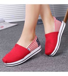 Women's #red #slipOn platform shoes with flag pattern print, casual, leisure Occasions.