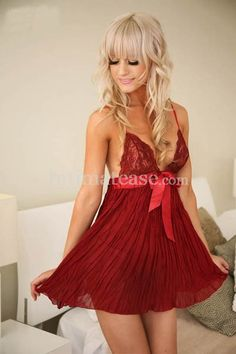 sale for  $18.52 Taste Style Lace Hanging Ribbon Bow Shoulder Night Dress-Red