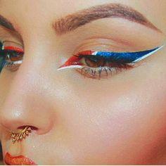 Red, white and blue eyeliner
