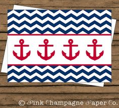Nautical Anchor Thank You Card // Navy Chevron, Red // Blank Inside // INSTANT DOWNLOAD