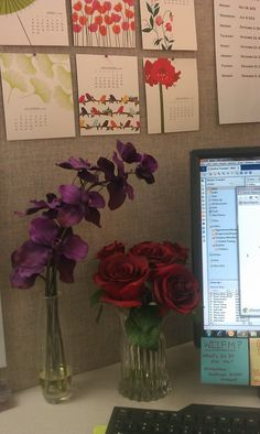 Here is a great idea to add to your decor in the cubicle and you don't have to worry about watering! Fake flowers liven up #cubicle spaces.