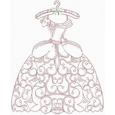 Victorian Wardrobe Redwork (no pattern) Machine Embroidery Designs, Embroidery Patterns, Embroidery Dress, Hand Embroidery, Quilling Patterns, Craft Patterns, Thread Painting, Vintage Crafts, Copics