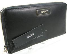 a73426d03608 DKNY Donna Karen Zip Around Wallet Purse Hand Bag Genuine Soft Black Leather  Gansevoort **