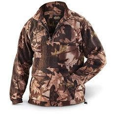 db61c77add9be Guide Gear Men's Quarter Zip Camo Fleece Pullover Jacket, Camo, L at Amazon  Men's Clothing store: