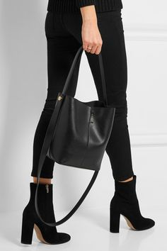 Black leather (Calf) Clasp fastening at open top Imported