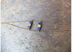 Bracelet lapis lazuli et or minimaliste // bracelet argent massif plaqué or et pierres semi précieuses bleue