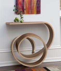 THIS is what I love about Hand Made:  Functional + Extraordinary.  You're not going to find this in your average home.  WANT!  Nebula by Kino Guerin (Wood Console Table) | Artful Home