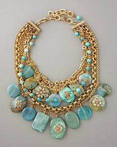 Who doesn't love turquoise? Many other styles in all different colors to tickle your fancy! Turquoise Pebble Necklace by Stephen Dweck at Neiman Marcus. Turquoise Jewelry, Gold Jewelry, Jewelry Box, Jewelery, Jewelry Accessories, Jewelry Necklaces, Jewelry Design, Jewelry Making, Long Necklaces