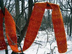 Magical Malabrigo Scarf. malabrigo Worsted, Glazed Carrot color.