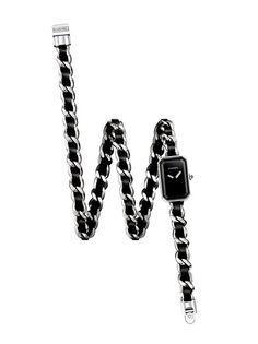 """Montre """"Première"""", ornée d'un bracelet avec une chaîne en acier triple tour entrelacée de cuir noir."""