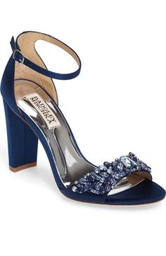 Something Blue - Badgley Mischka Barby Ankle Strap Sandal (Women) Blue Block Heels, Navy Blue Heels, Blue Sandals, Ankle Strap Sandals, Heeled Sandals, Fancy Shoes, Pretty Shoes, Beautiful Shoes, Navy Wedding Shoes
