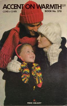 Coats Clark 278 Accent on Warmth Knit Crochet Patterns Hat Scarf Mittens 1979 #CoatsClark