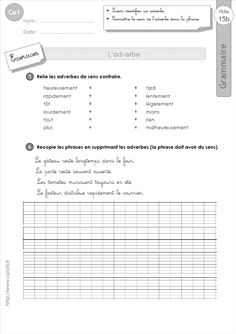 French Worksheets, French Education, Montessori Elementary, Cycle 3, French Lessons, Learn French, Vocabulary, Homeschool, Language
