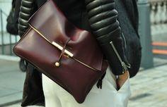 minimalist wine color leather purse--gorgeous