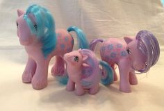 """My Little Pony Vintage G1 """"Bright Bouquet Family"""" Mommy Daddy Baby 