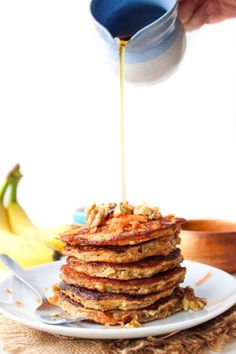 Flourless Carrot Banana Pancakes - only four ingredients needed and takes about 10 minutes to make! Gluten Free   Dairy Free   Low FODMAP