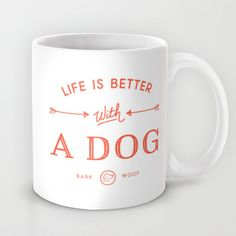 Life Is Better With A Dog - Cherry Red Mug by creative index - $15.00