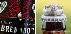51 wedding rings on beer bottles - Julie + Brian | Chestnut Ridge Golf Resort Wedding Photos