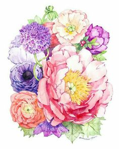 Watercolor akvarel wedding