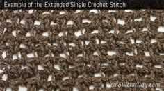 Crochet Stitch Exsc : Example of the Extended Single Crochet #crochet #crochetstitch # ...