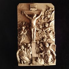 Crucifixion Scene with Angels Wall Plaque from vintagecatholic on Ruby Lane