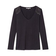 Buy Gérard Darel Silk Blend Stud T-Shirt, Black Online at johnlewis.com