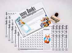 Library Graphic Design - public facing items for the 1000 Books Before Kindergarten program for PWPLS (book logs, information sheet, reward bookmark, rubber stamp for completed logs. completion certificate not shown). Reading Logs, Kids Reading, 1000 Books Before Kindergarten, Emergent Literacy, Book Log, Learning Time, Book Challenge, Graphic Design, Activities