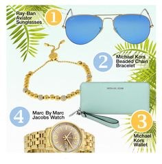 """""""Essentials"""" by jomashop ❤ liked on Polyvore featuring Ray-Ban, Marc by Marc Jacobs, Blue and essentials"""