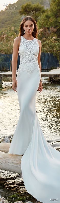 eddy k 2018 bridal sleeveless jewel neck heavily embellished bodice elegant sheath wedding dress chapel sheer lace back chapel train (20) mv -- Eddy K. Dreams 2019 Wedding Dresses #weddings #bridal #wedding